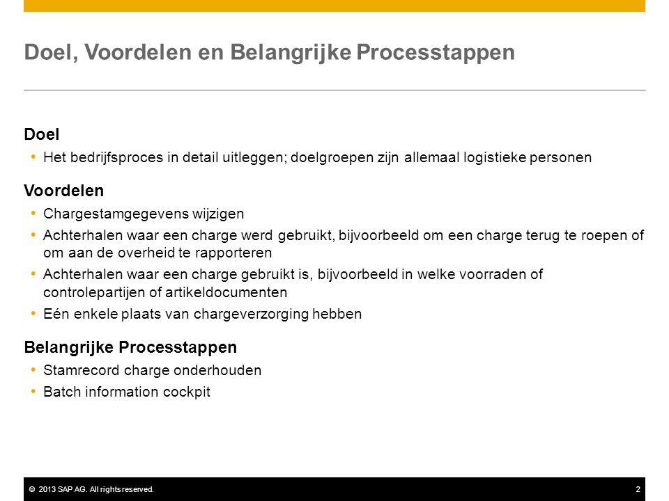 ©2013 SAP AG. All rights reserved.2 Doel, Voordelen en Belangrijke Processtappen Doel  Het bedrijfsproces in detail uitleggen; doelgroepen zijn allem