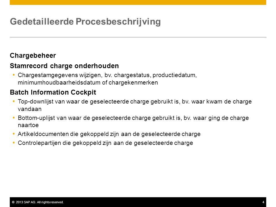 ©2013 SAP AG. All rights reserved.4 Gedetailleerde Procesbeschrijving Chargebeheer Stamrecord charge onderhouden  Chargestamgegevens wijzigen, bv. ch