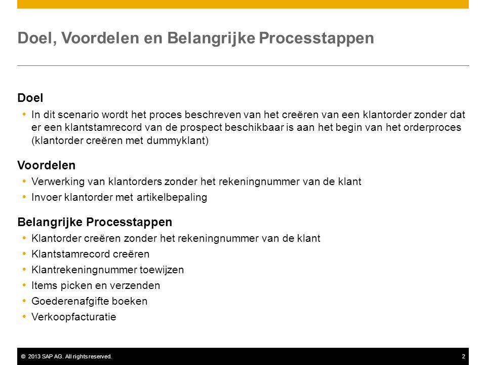 ©2013 SAP AG. All rights reserved.2 Doel, Voordelen en Belangrijke Processtappen Doel  In dit scenario wordt het proces beschreven van het creëren va
