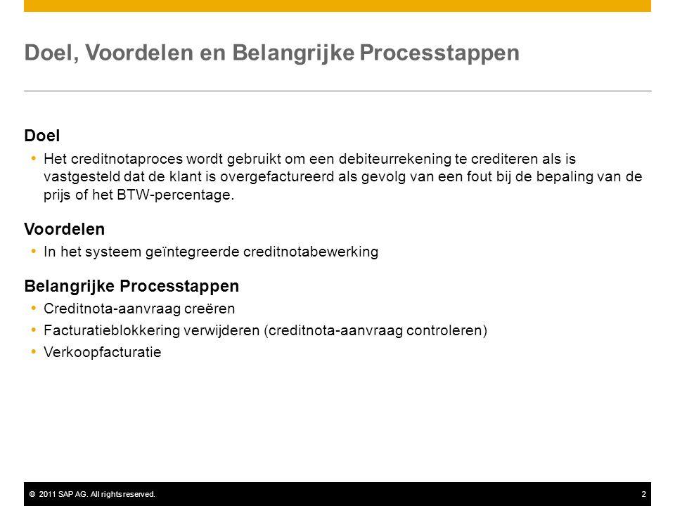 ©2011 SAP AG. All rights reserved.2 Doel, Voordelen en Belangrijke Processtappen Doel  Het creditnotaproces wordt gebruikt om een debiteurrekening te