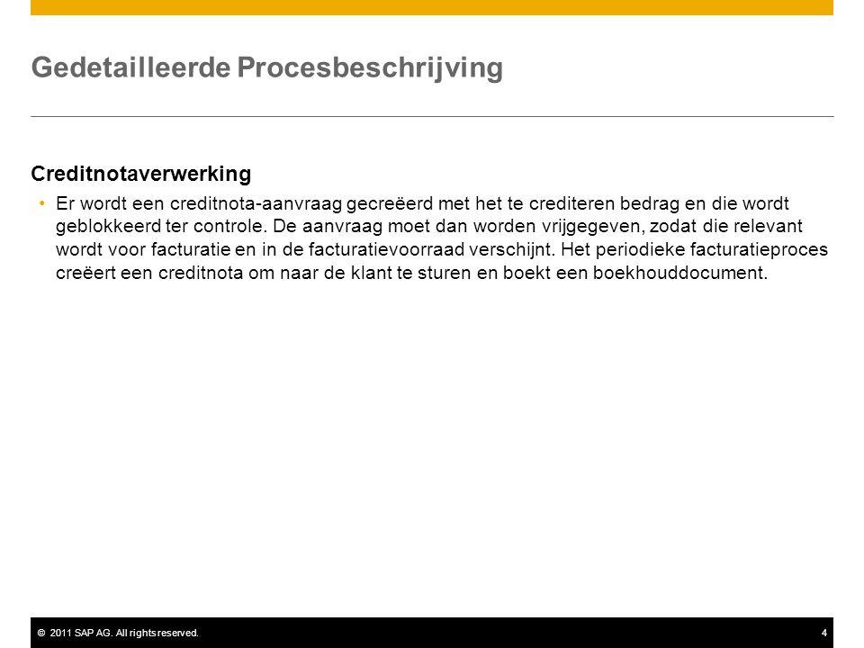 ©2011 SAP AG. All rights reserved.4 Gedetailleerde Procesbeschrijving Creditnotaverwerking Er wordt een creditnota-aanvraag gecreëerd met het te credi