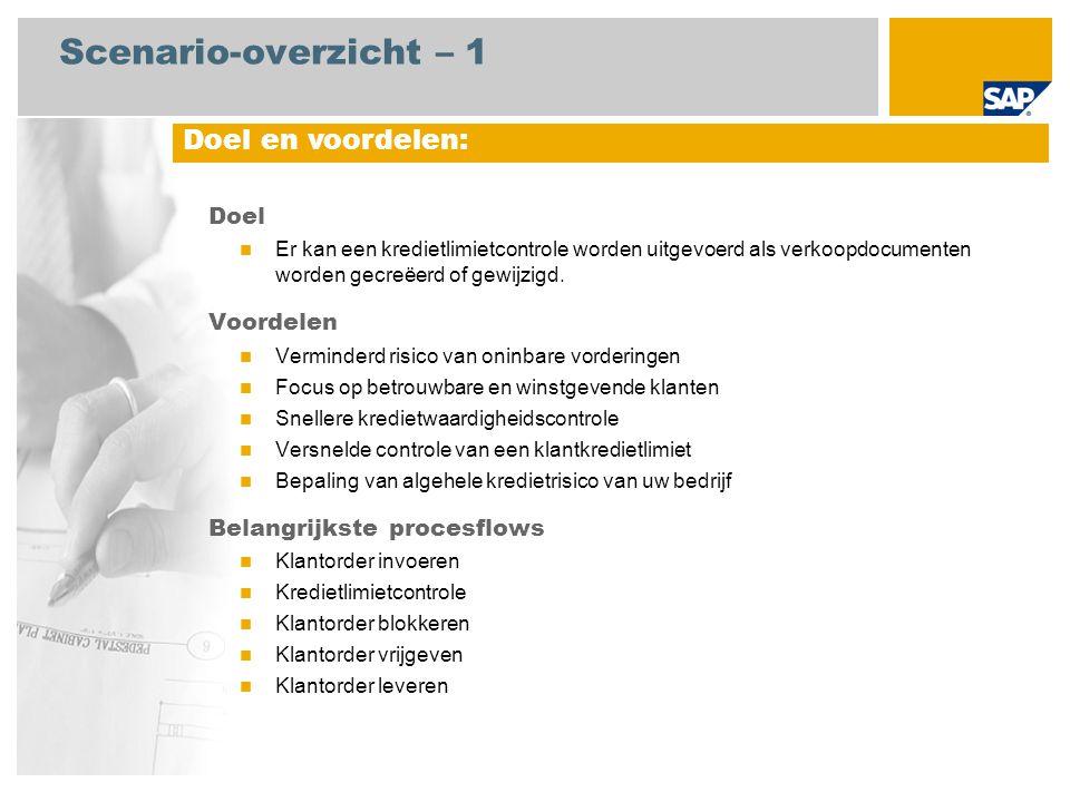 Scenario-overzicht – 1 Doel Er kan een kredietlimietcontrole worden uitgevoerd als verkoopdocumenten worden gecreëerd of gewijzigd. Voordelen Verminde