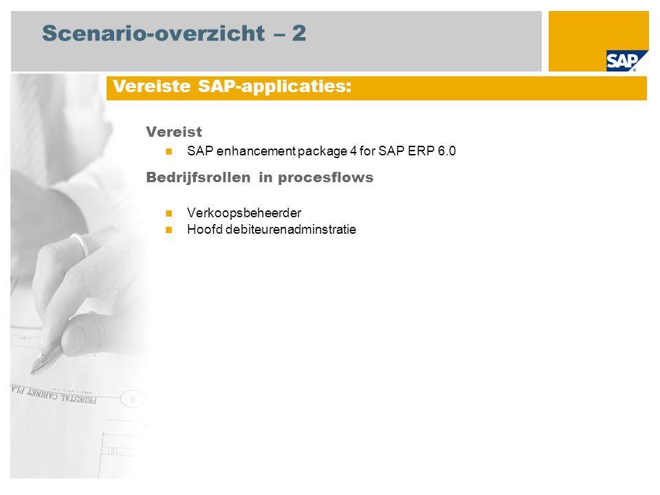 Scenario-overzicht – 2 Vereist SAP enhancement package 4 for SAP ERP 6.0 Bedrijfsrollen in procesflows Verkoopsbeheerder Hoofd debiteurenadminstratie