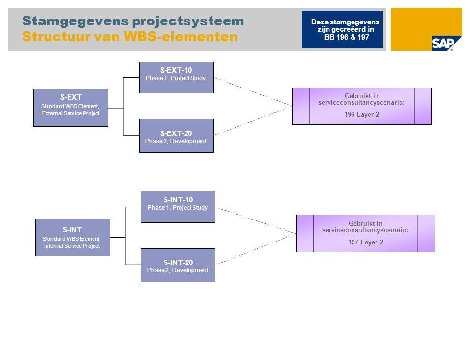 Stamgegevens projectsysteem Structuur van WBS-elementen S-EXT Standard WBS Element, External Service Project Deze stamgegevens zijn gecreëerd in BB 19
