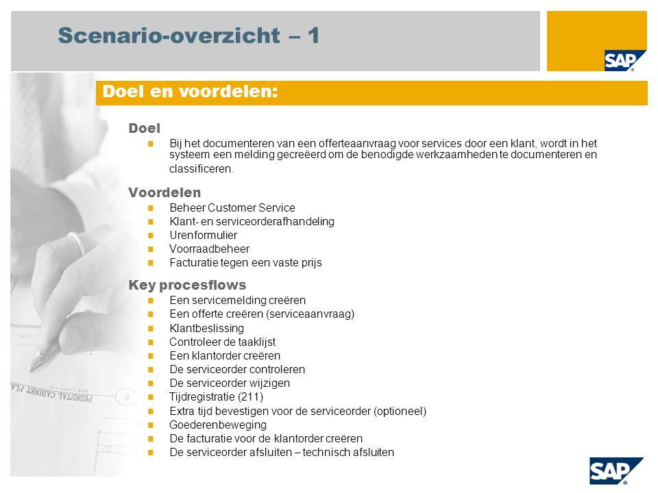 Scenario-overzicht – 1 Doel Bij het documenteren van een offerteaanvraag voor services door een klant, wordt in het systeem een melding gecreëerd om de benodigde werkzaamheden te documenteren en classificeren.