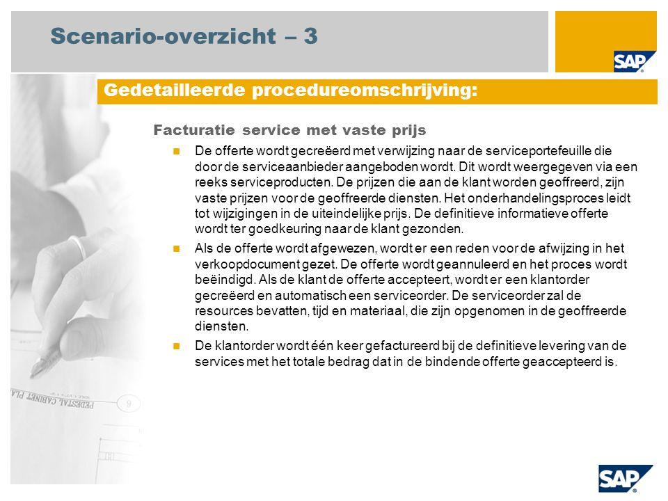 Scenario-overzicht – 3 Facturatie service met vaste prijs De offerte wordt gecreëerd met verwijzing naar de serviceportefeuille die door de serviceaanbieder aangeboden wordt.