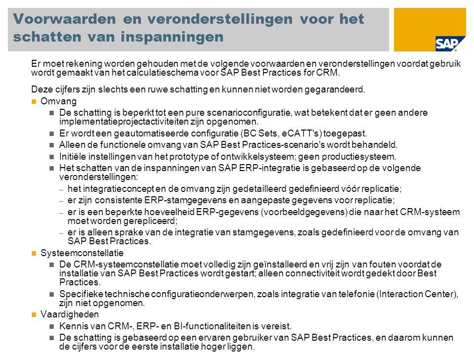 Voorwaarden en veronderstellingen voor het schatten van inspanningen Er moet rekening worden gehouden met de volgende voorwaarden en veronderstellingen voordat gebruik wordt gemaakt van het calculatieschema voor SAP Best Practices for CRM.
