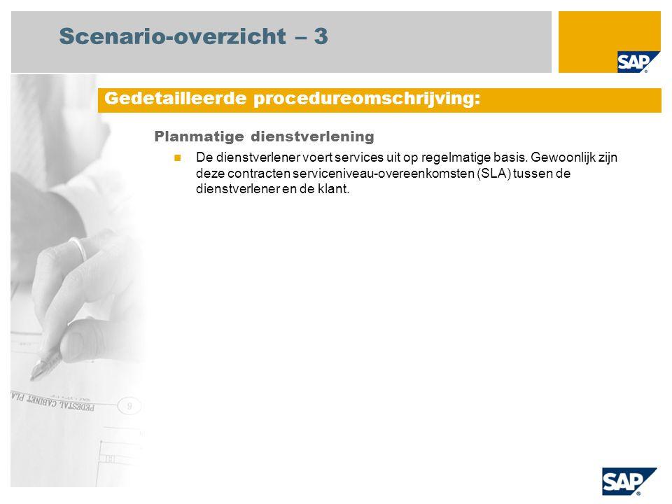 Scenario-overzicht – 3 Planmatige dienstverlening De dienstverlener voert services uit op regelmatige basis. Gewoonlijk zijn deze contracten serviceni