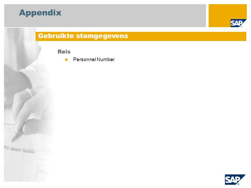 Appendix Reis Personnel Number Gebruikte stamgegevens
