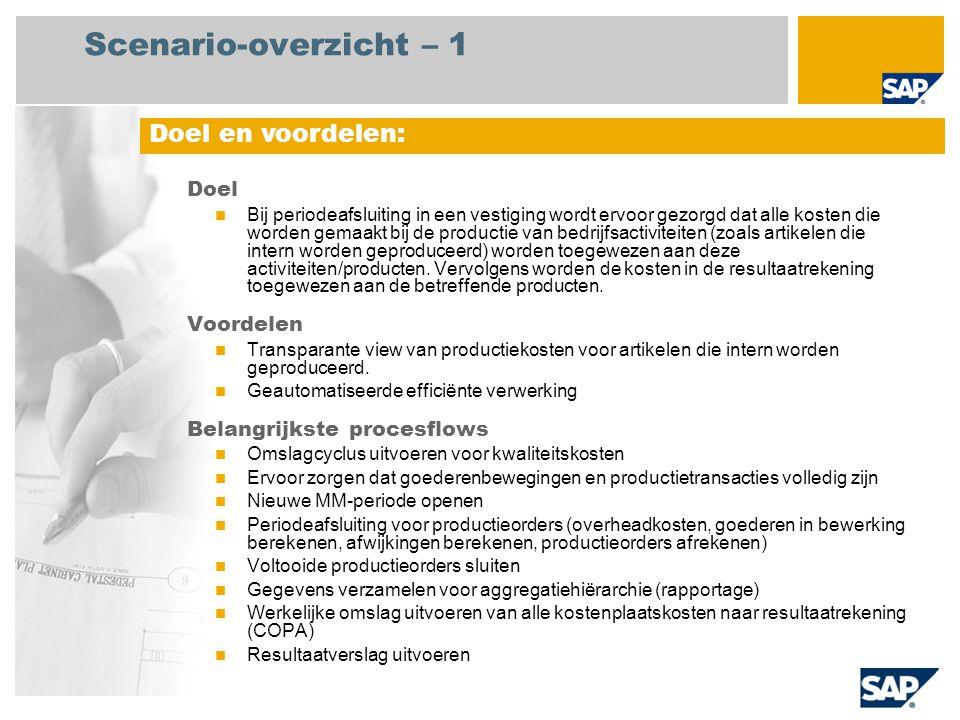 Scenario-overzicht – 2 Vereist SAP enhancement package 4 for SAP ERP 6.0 Bedrijfsrollen in procesflows Crediteurenadministratie Werkvloerspecialist Grootboek andministratie Productkostencontroller Productieplanner Centrale medewerker kostenadministratie Vereiste SAP-applicaties: