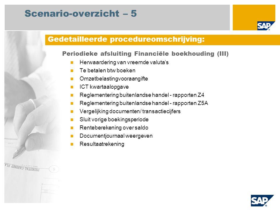 Scenario-overzicht – 5 Periodieke afsluiting Financiële boekhouding (III) Herwaardering van vreemde valuta's Te betalen btw boeken Omzetbelastingvoora