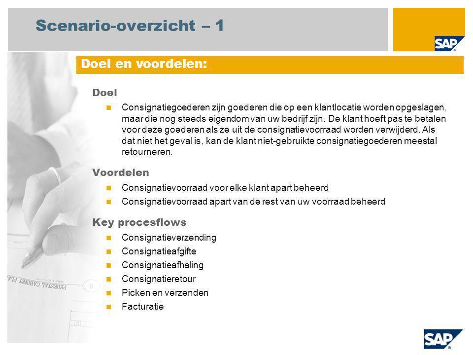 Scenario-overzicht – 1 Doel Consignatiegoederen zijn goederen die op een klantlocatie worden opgeslagen, maar die nog steeds eigendom van uw bedrijf zijn.
