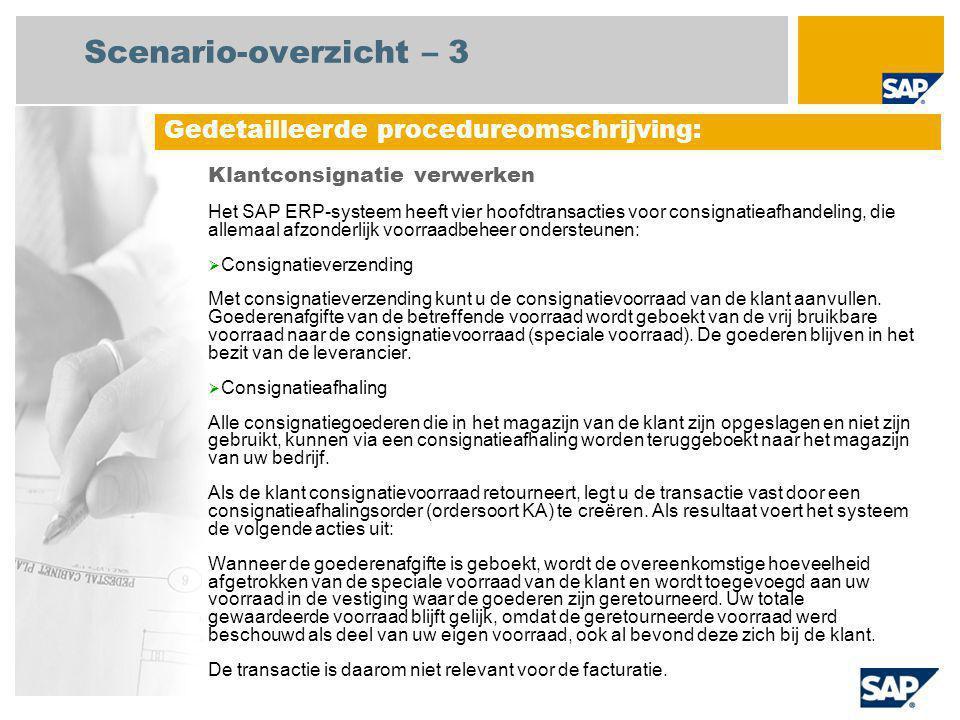 Scenario-overzicht – 4 Verwerking klantconsignatie  Consignatieafgifte Via consignatieafgifte kan de klant uit de speciale voorraad consignatiegoederen halen voor gebruik of verkoop.