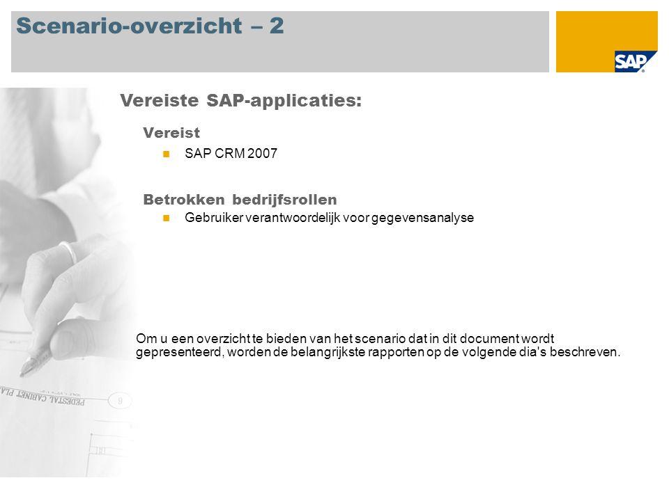 Scenario-overzicht – 2 Vereist SAP CRM 2007 Betrokken bedrijfsrollen Gebruiker verantwoordelijk voor gegevensanalyse Vereiste SAP-applicaties: Om u ee