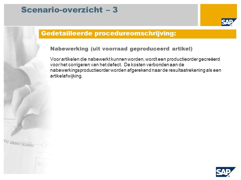 Scenario-overzicht – 3 Nabewerking (uit voorraad geproduceerd artikel) Voor artikelen die nabewerkt kunnen worden, wordt een productieorder gecreëerd
