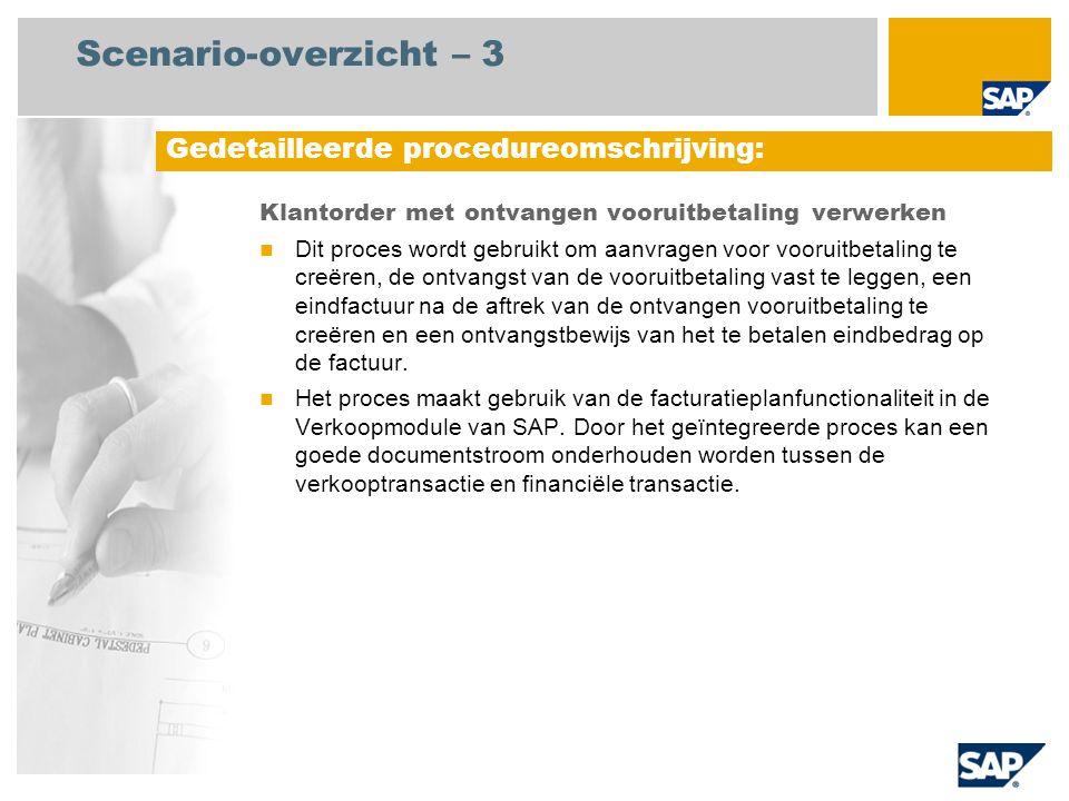Scenario-overzicht – 3 Klantorder met ontvangen vooruitbetaling verwerken Dit proces wordt gebruikt om aanvragen voor vooruitbetaling te creëren, de o