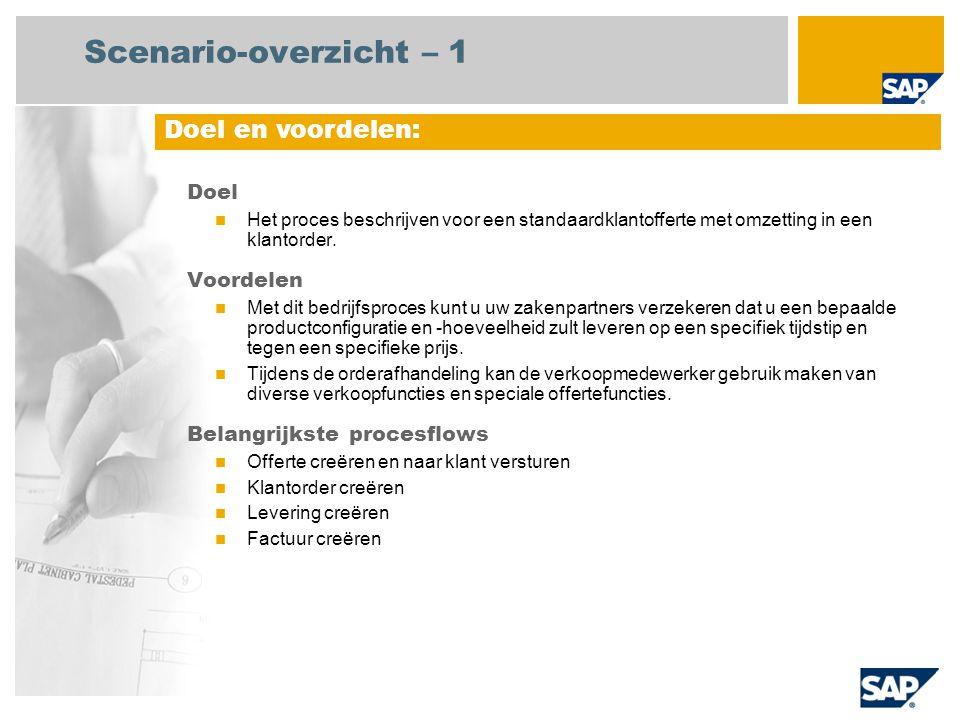 Scenario-overzicht – 1 Doel Het proces beschrijven voor een standaardklantofferte met omzetting in een klantorder. Voordelen Met dit bedrijfsproces ku