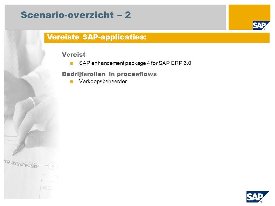 Scenario-overzicht – 2 Vereist SAP enhancement package 4 for SAP ERP 6.0 Bedrijfsrollen in procesflows Verkoopsbeheerder Vereiste SAP-applicaties: