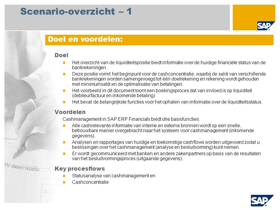 Scenario-overzicht – 1 Doel Het overzicht van de liquiditeitspositie biedt informatie over de huidige financiële status van de bankrekeningen.