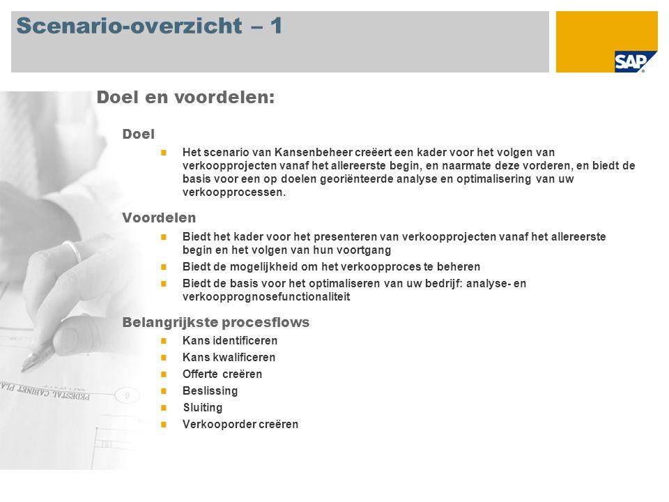 Scenario-overzicht – 2 Vereist SAP CRM 2007 Bedrijfsrollen in procesflows Verkoopmanager Verkoopmedewerker Vereiste SAP-applicaties: