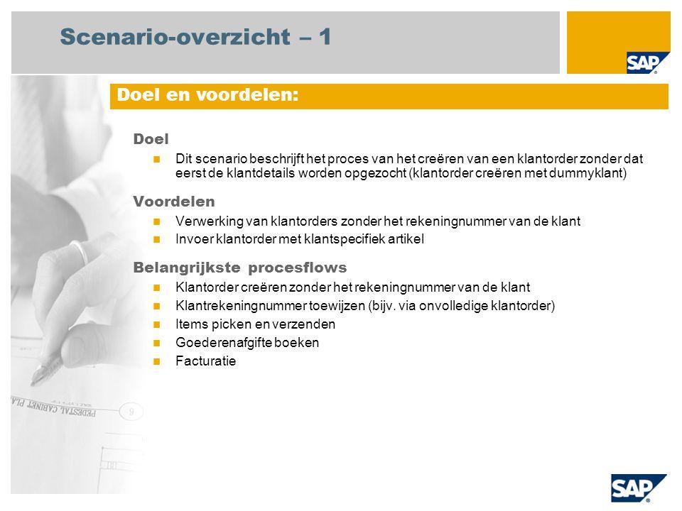 Scenario-overzicht – 1 Doel Dit scenario beschrijft het proces van het creëren van een klantorder zonder dat eerst de klantdetails worden opgezocht (k