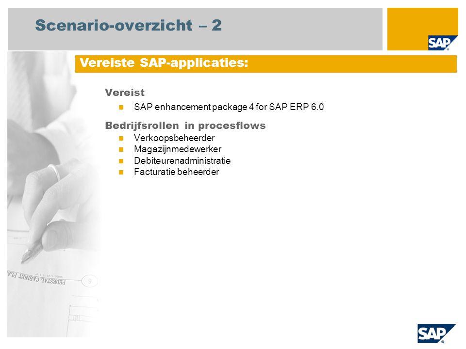 Scenario-overzicht – 2 Vereist SAP enhancement package 4 for SAP ERP 6.0 Bedrijfsrollen in procesflows Verkoopsbeheerder Magazijnmedewerker Debiteurenadministratie Facturatie beheerder Vereiste SAP-applicaties: