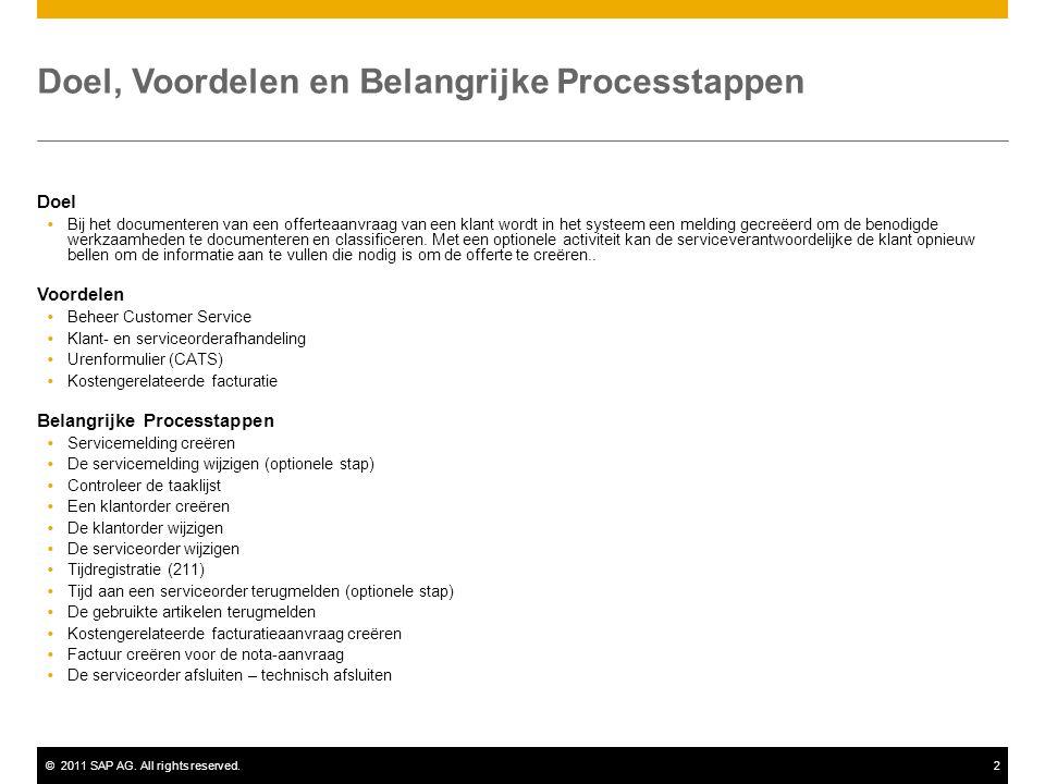 ©2011 SAP AG. All rights reserved.2 Doel, Voordelen en Belangrijke Processtappen Doel  Bij het documenteren van een offerteaanvraag van een klant wor