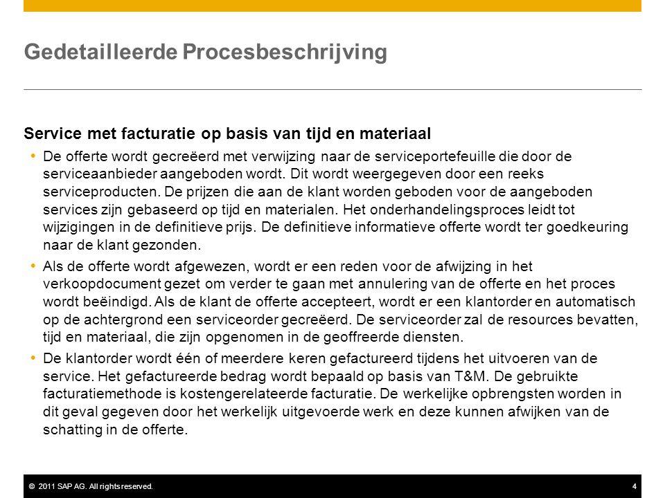 ©2011 SAP AG. All rights reserved.4 Gedetailleerde Procesbeschrijving Service met facturatie op basis van tijd en materiaal  De offerte wordt gecreëe