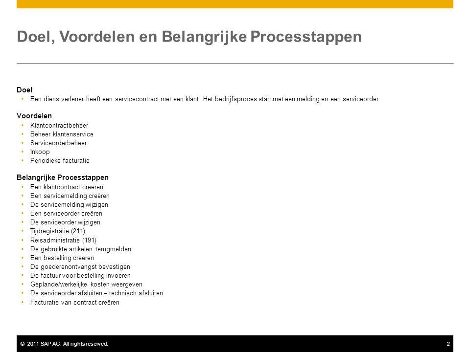 ©2011 SAP AG. All rights reserved.2 Doel, Voordelen en Belangrijke Processtappen Doel  Een dienstverlener heeft een servicecontract met een klant. He