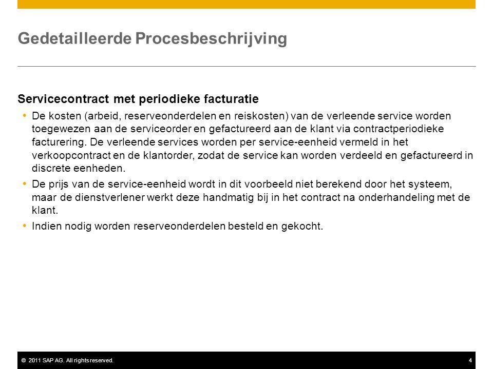 ©2011 SAP AG. All rights reserved.4 Gedetailleerde Procesbeschrijving Servicecontract met periodieke facturatie  De kosten (arbeid, reserveonderdelen