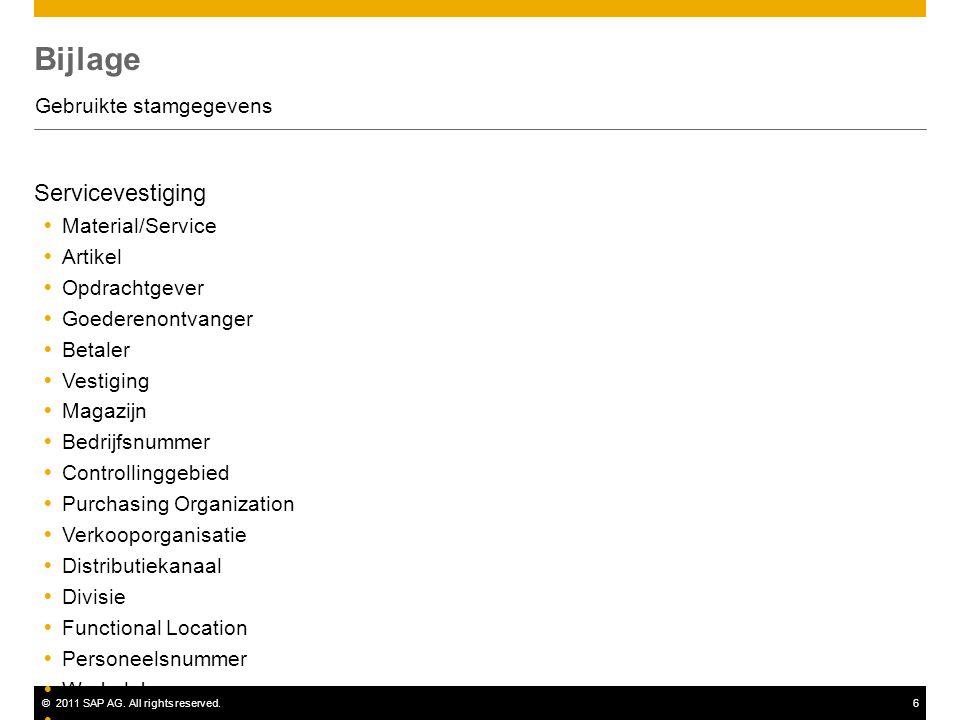 ©2011 SAP AG. All rights reserved.6 Bijlage Gebruikte stamgegevens Servicevestiging  Material/Service  Artikel  Opdrachtgever  Goederenontvanger 
