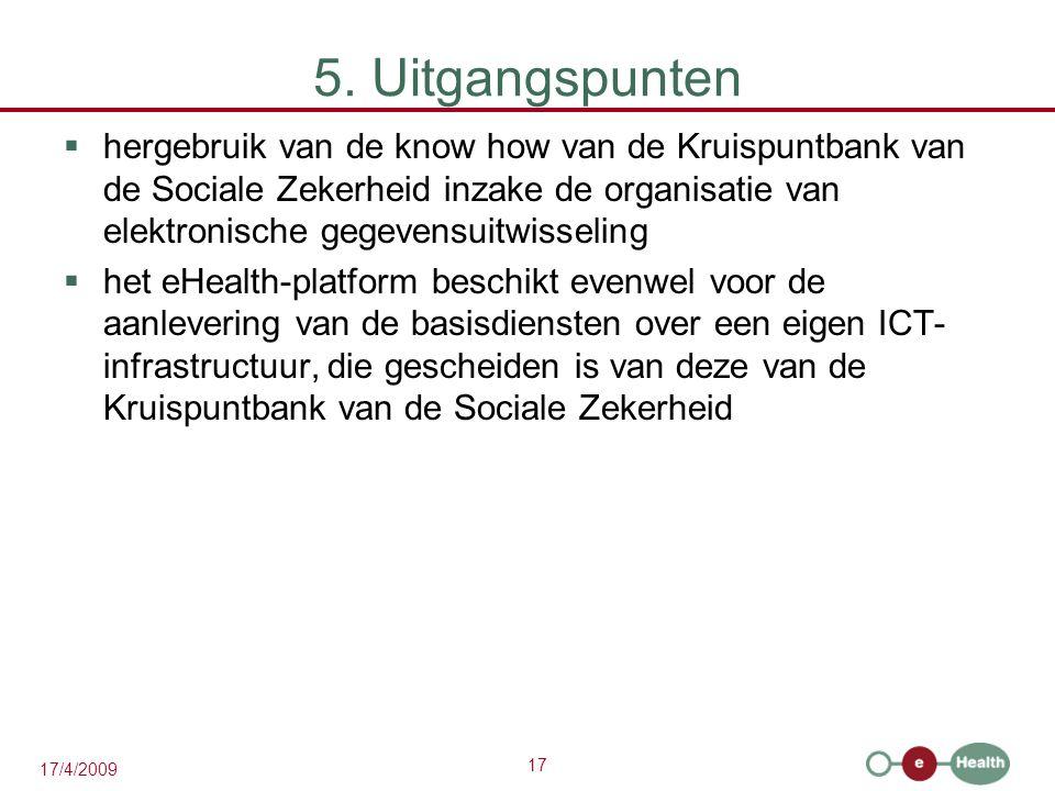 17 17/4/2009 5. Uitgangspunten  hergebruik van de know how van de Kruispuntbank van de Sociale Zekerheid inzake de organisatie van elektronische gege