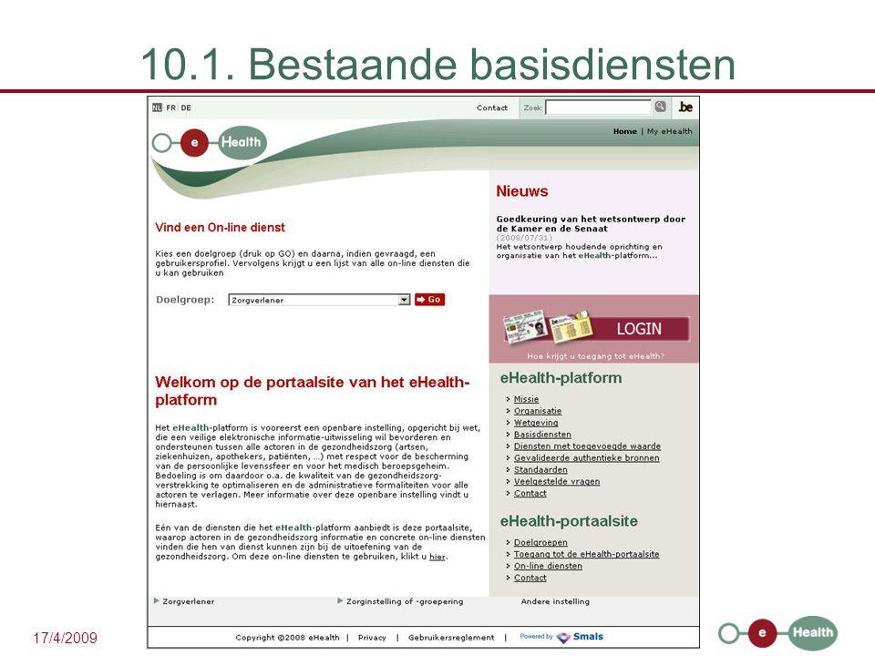 39 17/4/2009 10.1. Bestaande basisdiensten