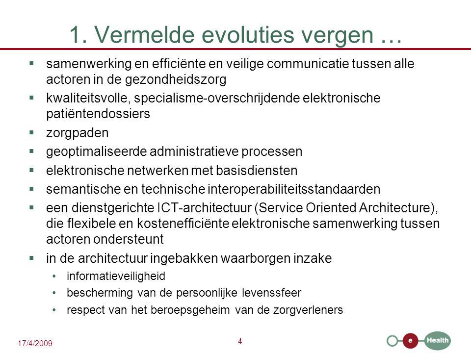 4 17/4/2009 1. Vermelde evoluties vergen …  samenwerking en efficiënte en veilige communicatie tussen alle actoren in de gezondheidszorg  kwaliteits