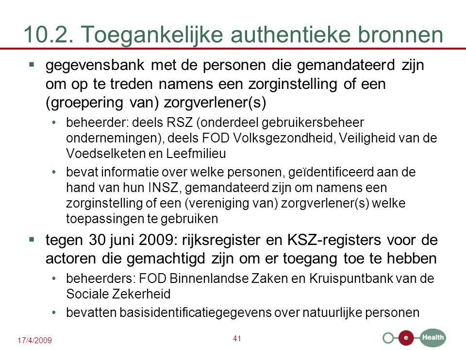 41 17/4/2009 10.2. Toegankelijke authentieke bronnen  gegevensbank met de personen die gemandateerd zijn om op te treden namens een zorginstelling of