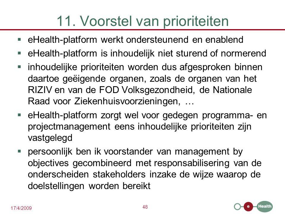 48 17/4/2009 11. Voorstel van prioriteiten  eHealth-platform werkt ondersteunend en enablend  eHealth-platform is inhoudelijk niet sturend of normer