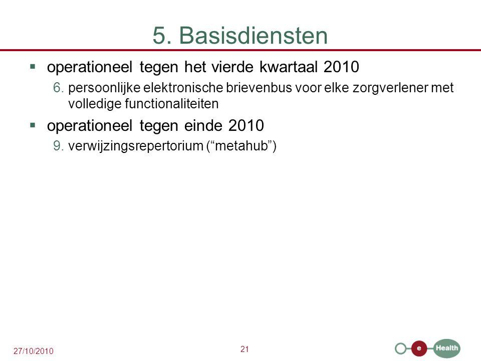 21 27/10/2010 5. Basisdiensten  operationeel tegen het vierde kwartaal 2010 6.persoonlijke elektronische brievenbus voor elke zorgverlener met volled