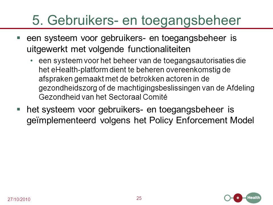 25 27/10/2010 5. Gebruikers- en toegangsbeheer  een systeem voor gebruikers- en toegangsbeheer is uitgewerkt met volgende functionaliteiten een syste
