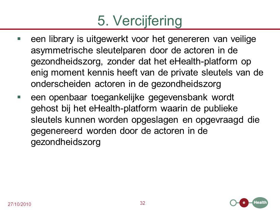 32 27/10/2010 5. Vercijfering  een library is uitgewerkt voor het genereren van veilige asymmetrische sleutelparen door de actoren in de gezondheidsz