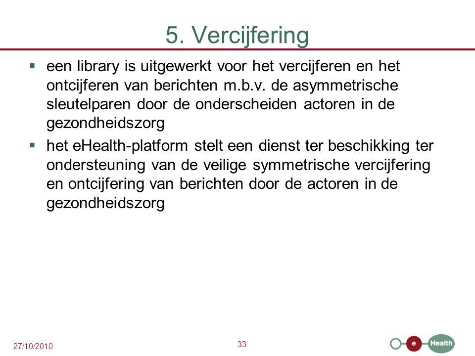 33 27/10/2010 5. Vercijfering  een library is uitgewerkt voor het vercijferen en het ontcijferen van berichten m.b.v. de asymmetrische sleutelparen d