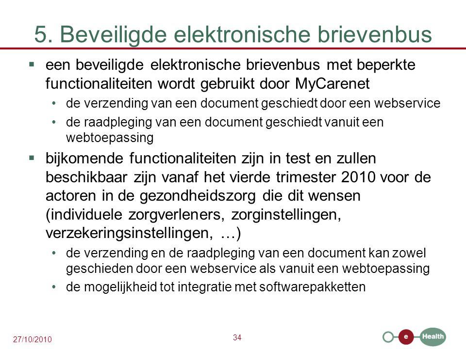 34 27/10/2010 5. Beveiligde elektronische brievenbus  een beveiligde elektronische brievenbus met beperkte functionaliteiten wordt gebruikt door MyCa
