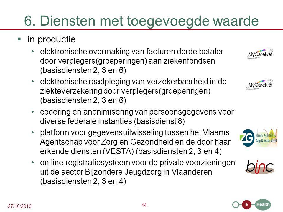 44 27/10/2010 6. Diensten met toegevoegde waarde  in productie elektronische overmaking van facturen derde betaler door verplegers(groeperingen) aan