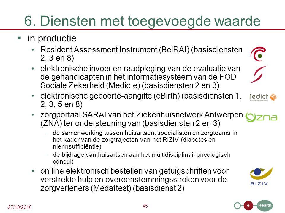 45 27/10/2010 6. Diensten met toegevoegde waarde  in productie Resident Assessment Instrument (BelRAI) (basisdiensten 2, 3 en 8) elektronische invoer