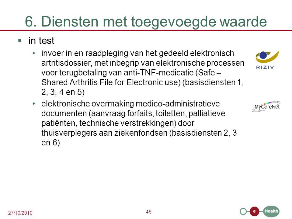 46 27/10/2010 6. Diensten met toegevoegde waarde  in test invoer in en raadpleging van het gedeeld elektronisch artritisdossier, met inbegrip van ele