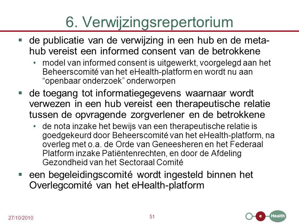 51 27/10/2010 6. Verwijzingsrepertorium  de publicatie van de verwijzing in een hub en de meta- hub vereist een informed consent van de betrokkene mo