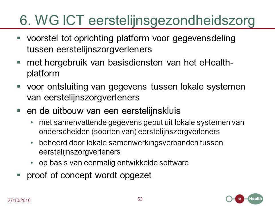 53 27/10/2010 6. WG ICT eerstelijnsgezondheidszorg  voorstel tot oprichting platform voor gegevensdeling tussen eerstelijnszorgverleners  met hergeb