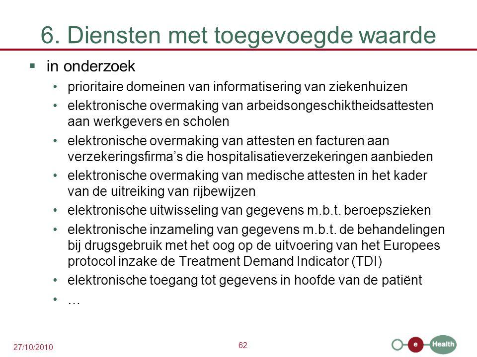 62 27/10/2010 6. Diensten met toegevoegde waarde  in onderzoek prioritaire domeinen van informatisering van ziekenhuizen elektronische overmaking van