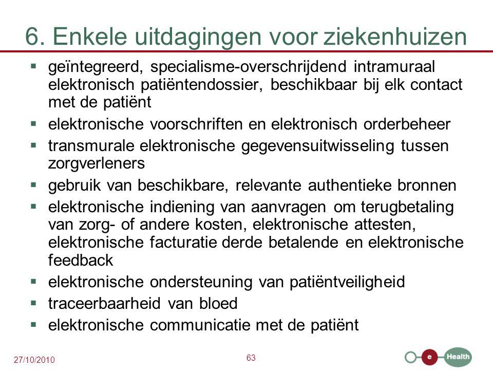 63 27/10/2010 6. Enkele uitdagingen voor ziekenhuizen  geïntegreerd, specialisme-overschrijdend intramuraal elektronisch patiëntendossier, beschikbaa