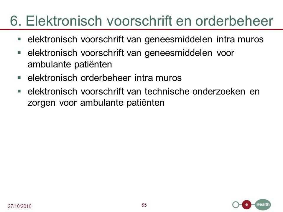 65 27/10/2010 6. Elektronisch voorschrift en orderbeheer  elektronisch voorschrift van geneesmiddelen intra muros  elektronisch voorschrift van gene