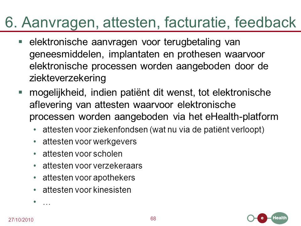 68 27/10/2010 6. Aanvragen, attesten, facturatie, feedback  elektronische aanvragen voor terugbetaling van geneesmiddelen, implantaten en prothesen w